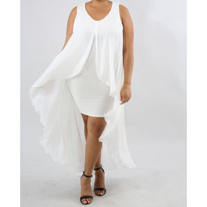 Womens Plus Size White High Low Bodycon Dress